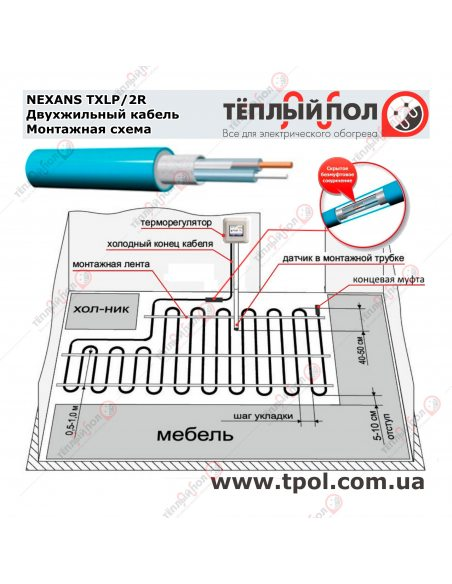 (3,0-3,5 м²) TXLP/2R 500/17 ☀ Теплый пол