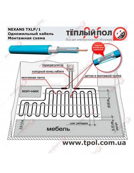 (4,4-5,4 м²) TXLP/1 1000/17 ☀☀☀ Теплый пол