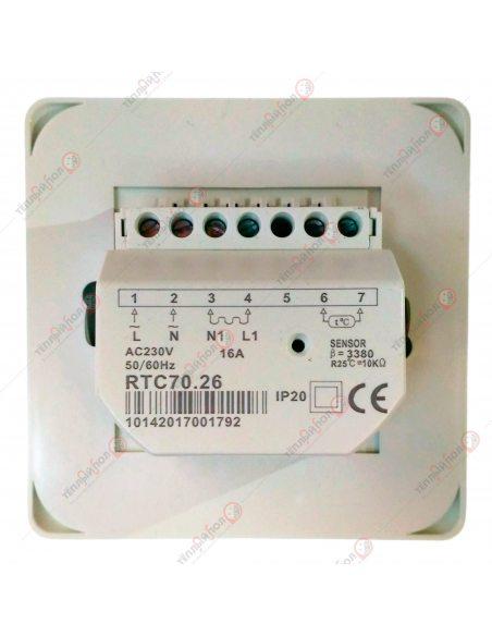 Терморегулятор PROFiTherm MEX (механический) с датчиком-вид сзади-клеммы подключения
