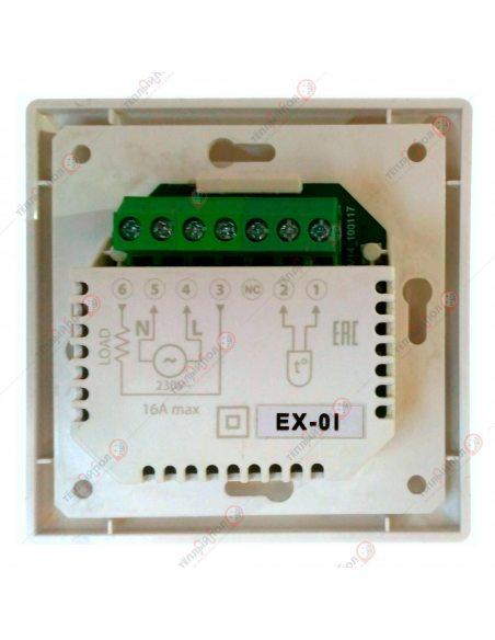 PROFiTherm EX01 (терморегулятор цифровой) с датчиком температуры пола - вид сзади - клеммы покдлючения