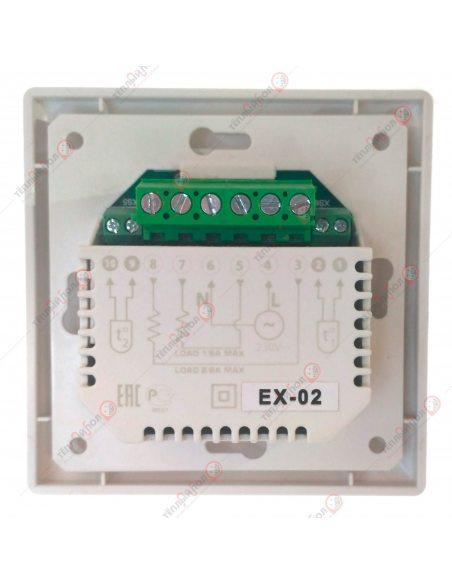 PROFiTherm EX02 (терморегулятор цифровой 2 пола) с двумя датчиками температуры - вид сзади - клеммы подключения