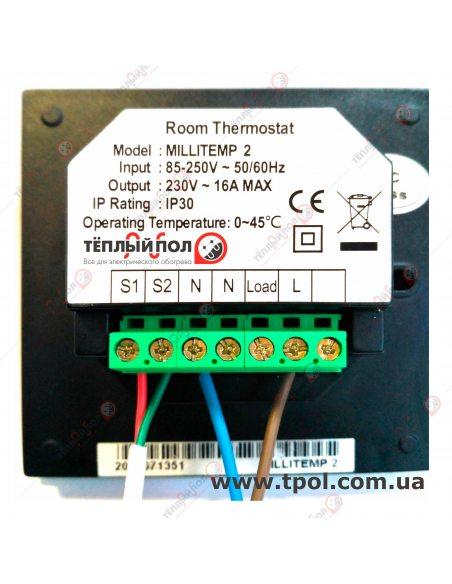 Millitemp 2 BREATH - Терморегулятор -  Клемы подключения - вид сзади