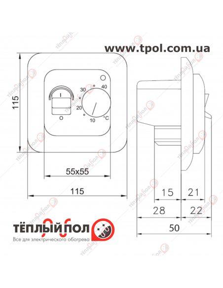 OTN-1991 - терморегулятор механический - габаритные размеры