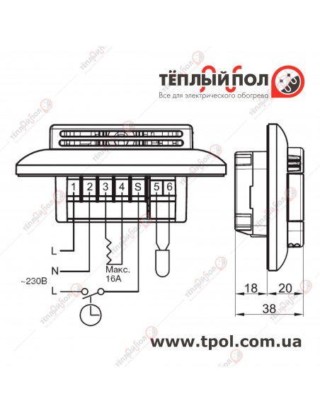 OTN2-1991 - терморегулятор цифровой - габаритные размеры и схема подключения