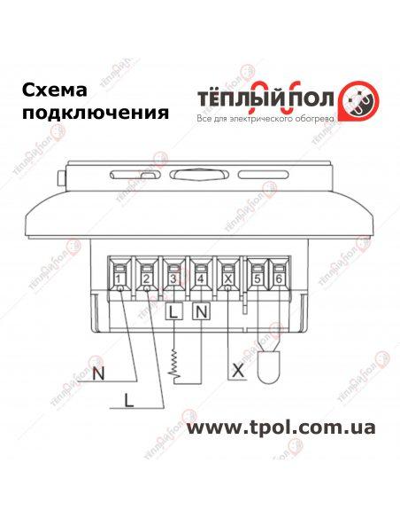 MCD5-1999-R1P3- Терморегулятор программируемый сенсорный - Схема подключения
