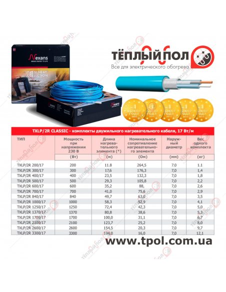 (3,7-4,3 м²) TXLP/2R 840/17 ☀☀☀ Теплый пол